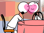 Stickman Kissing GF at Restaurant